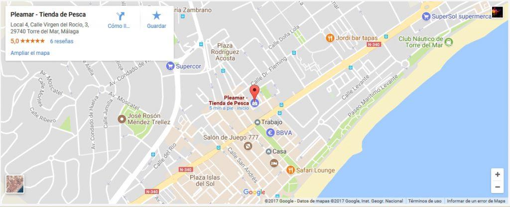 Tienda pesca en Malaga mapa