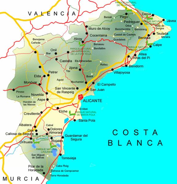 mapa tienda de pesca en Alicante